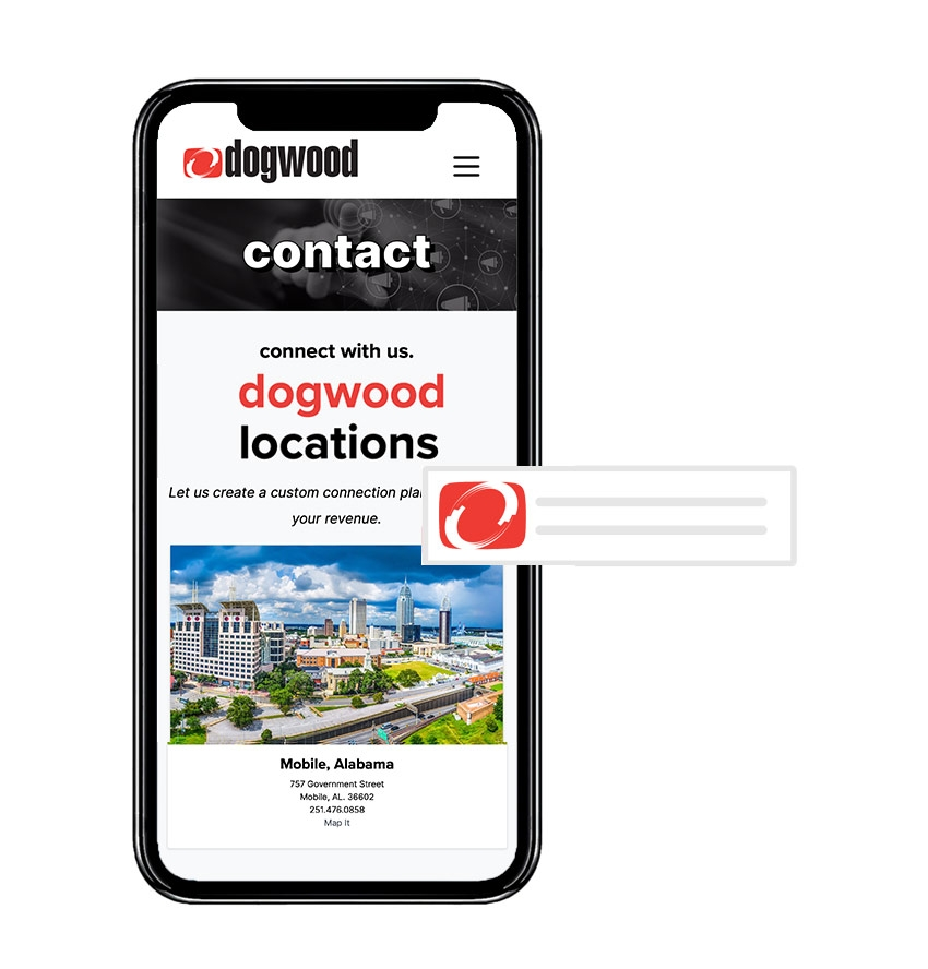 Smartphone with Dogwood Contact Page