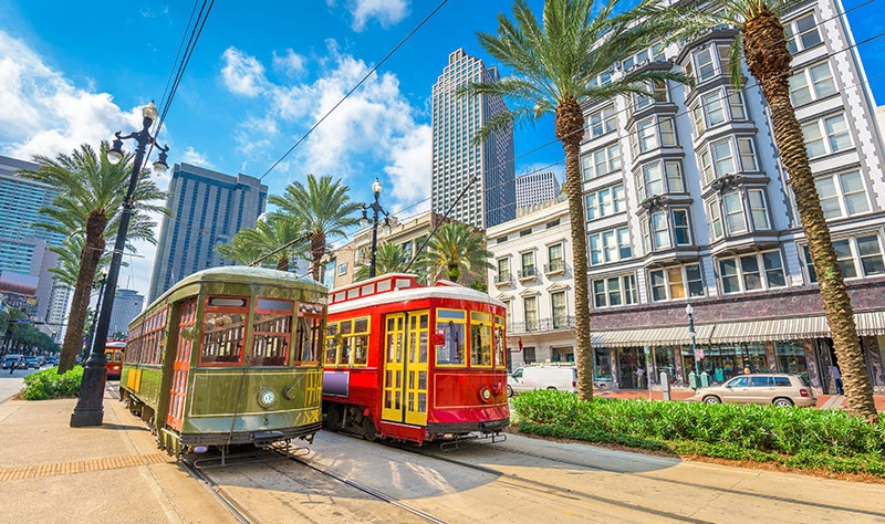Streetcars shown in downtown New Orleans