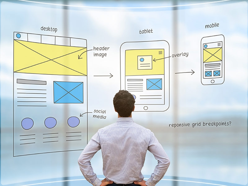 Web site planer looking at user interface design flowcharts