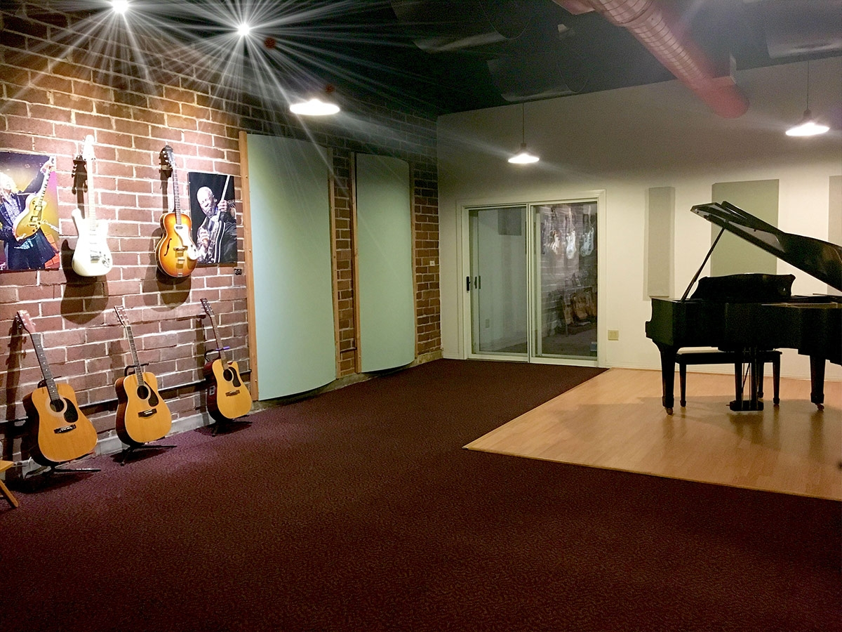 Recording studio with piano